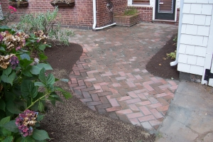 Herringbone Clay Brick walkway